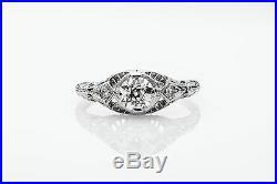 Antique 1920s. 65ct Old Euro VS G Diamond Platinum Filigree Ring